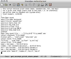 screen shot of Emacs showing Praat script for pitch analysis
