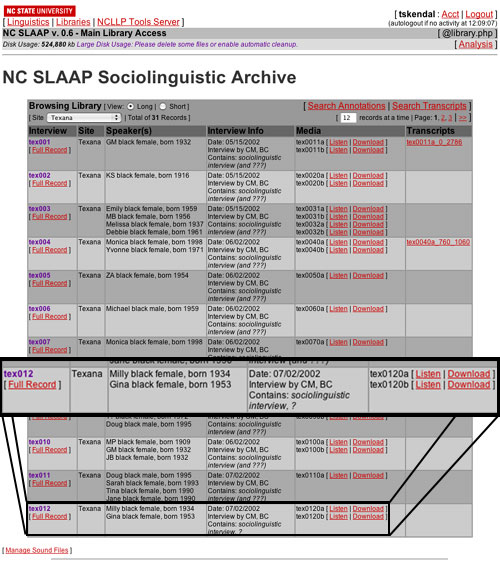 screen shot of SLAAP library view